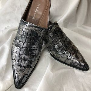 Donald J. Pliner silver western mules.